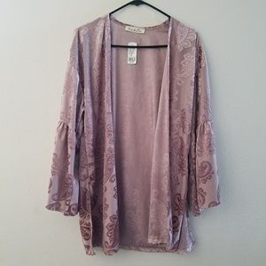 Blush Pink Suede Bell Sleeves Kimono S